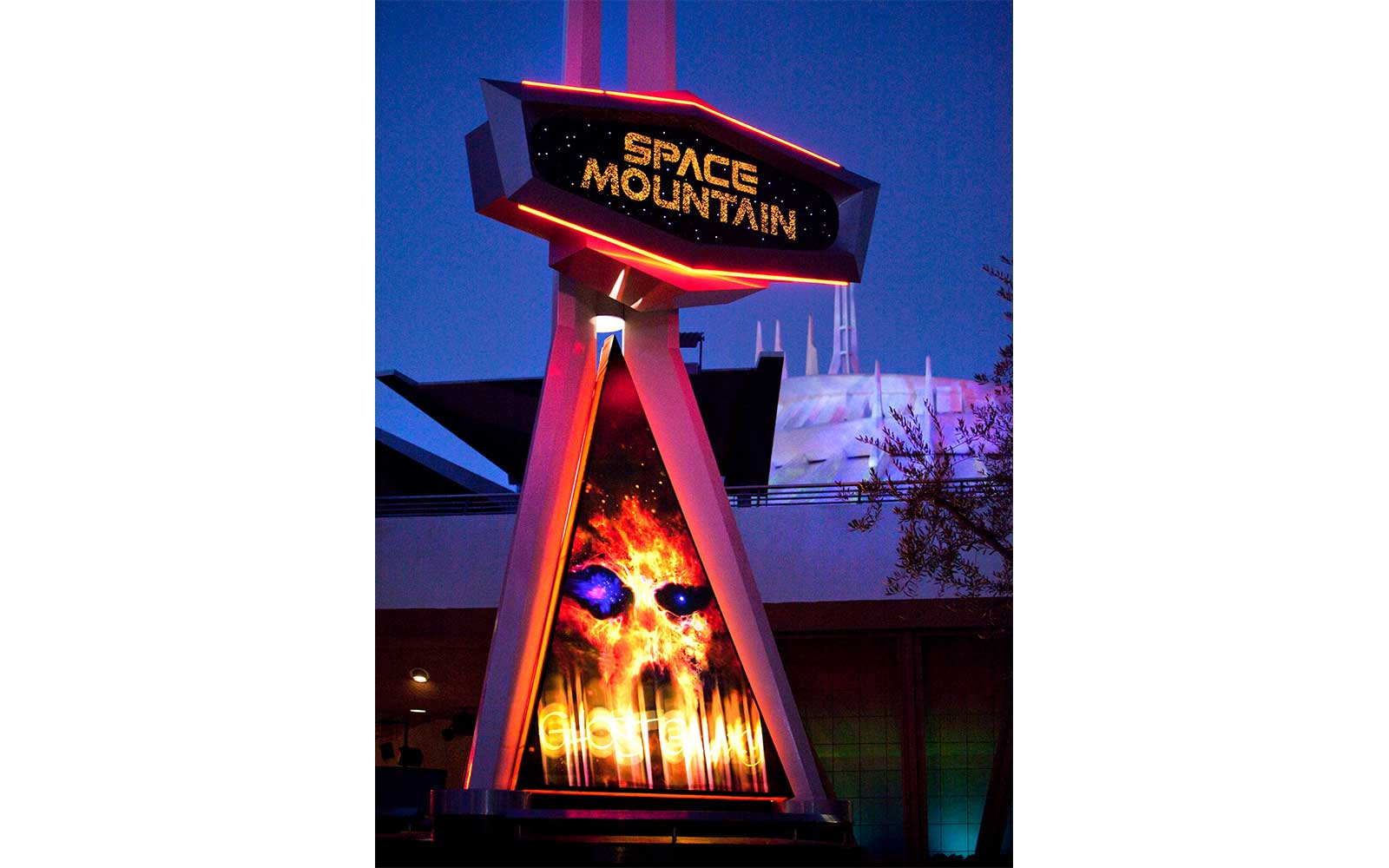 The Space Mountain  Ghost Galaxy  ride at Disneyland during Halloween season