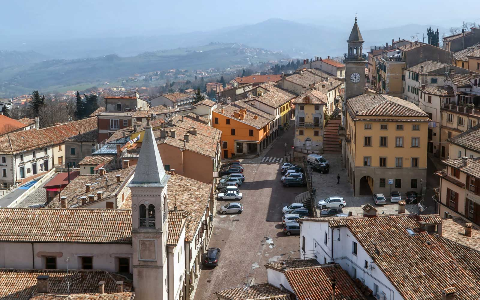 View of San Marino city with piazza Grande from above