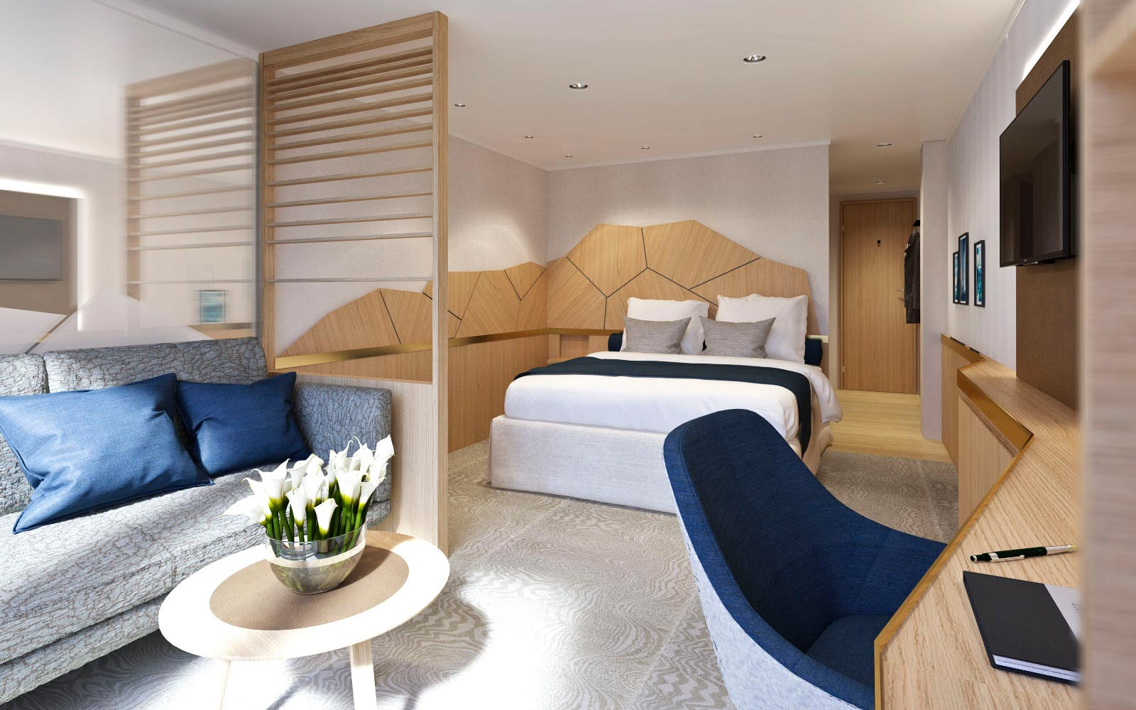 Rendering of a room on board the new Quark Expeditions luxury polar cruise ship, set to debut in 2020