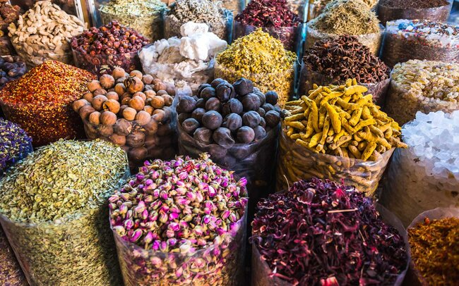 Dried herbs flowers spices in the spice souq at Deira, Dubai, United Arab Emirates