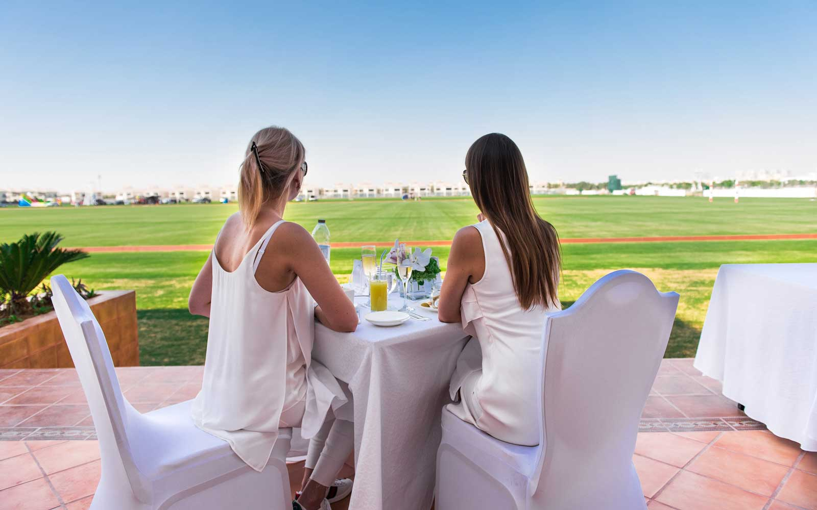 Brunch overlooking the polo grounds at Al Habtoor Polo Club