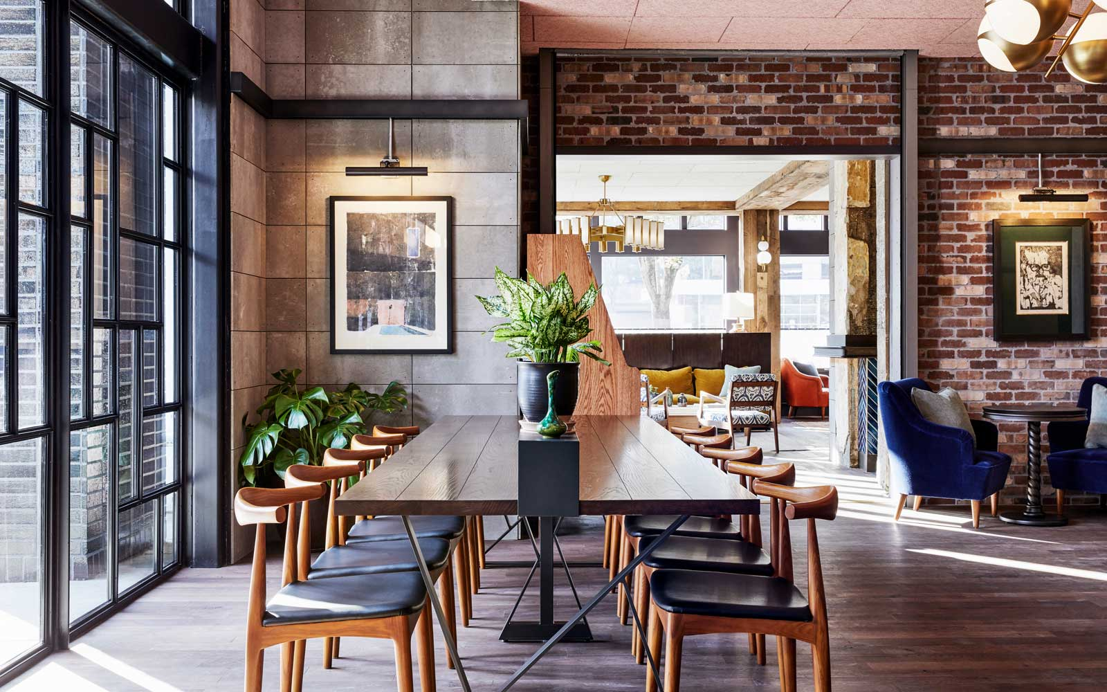 Communal table at Portland's Hoxton Hotel