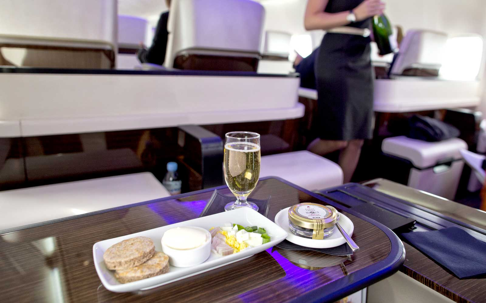 Meals on board the TCS World Travel private plane