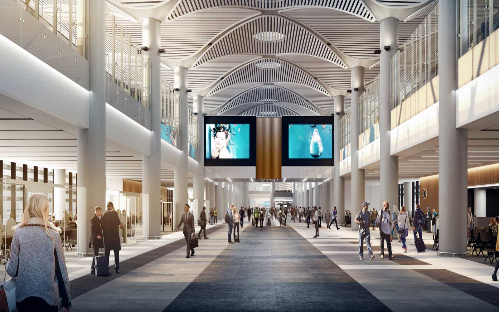 The airport will have screens that provide real-time alerts and flight information.