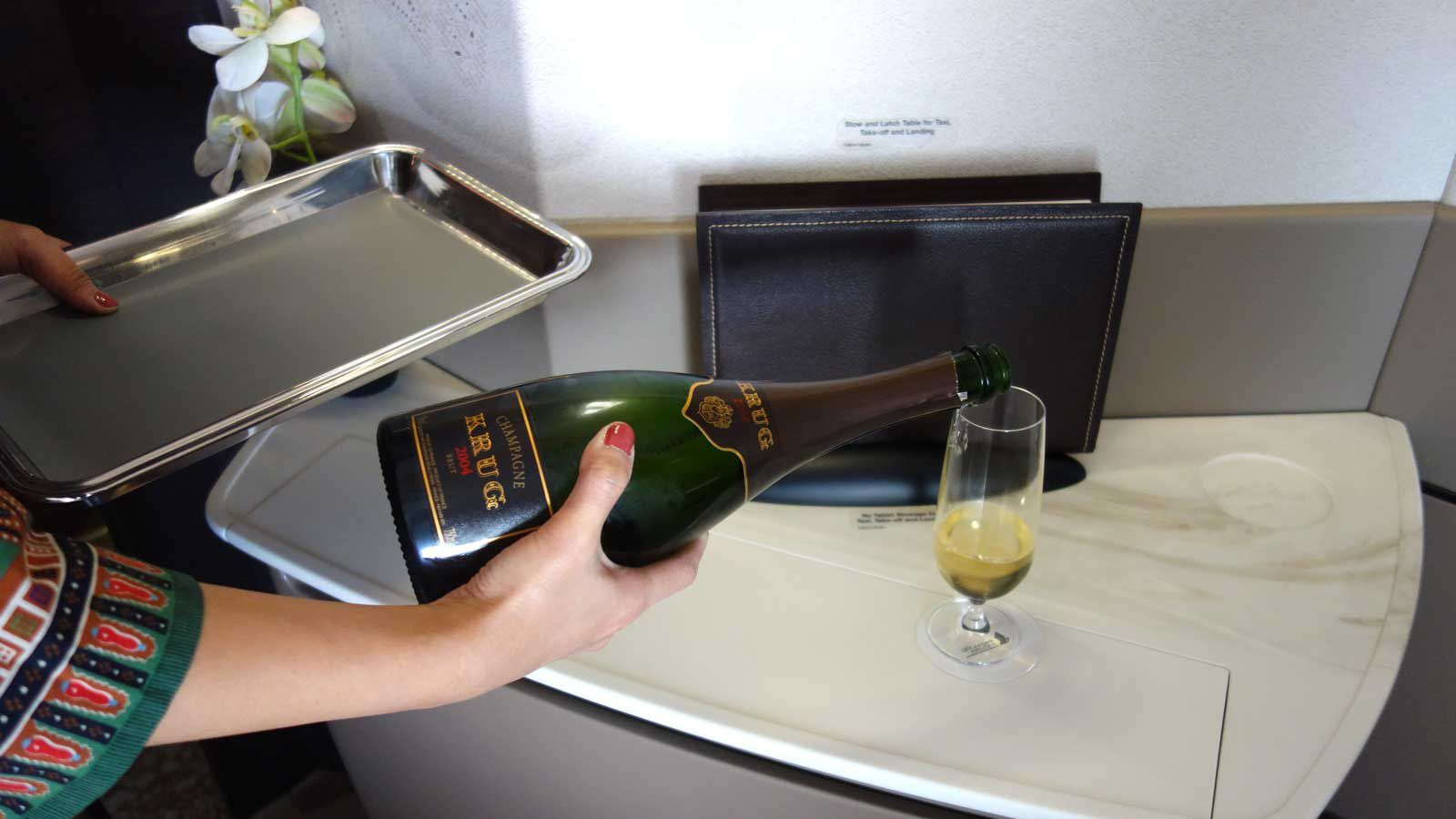 Champagne service in the Singapore Suites on board Singapore Airlines