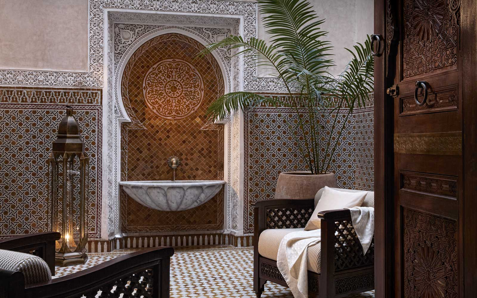 Ornate tilework at the Royal Mansour luxury hotel in Morocco