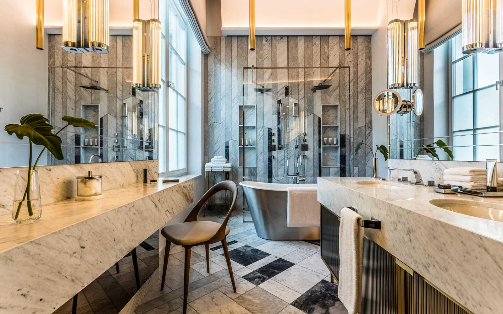 Bathroom in a Signature Suite at the Raffles Europeskji hotel in Warsaw, Poland