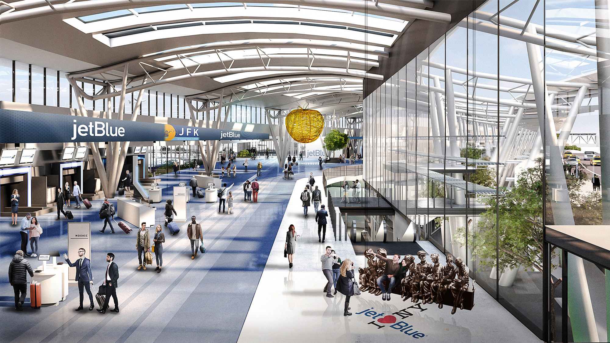 A rendering of the check-in area coming to Terminal 6 and Terminal 7.