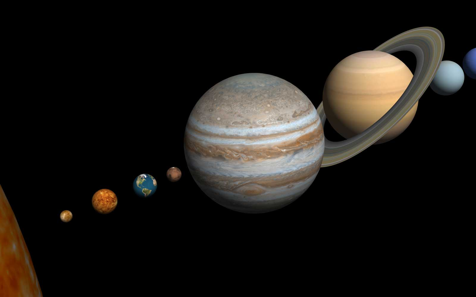 Artist concept of planets aligned in the solar system