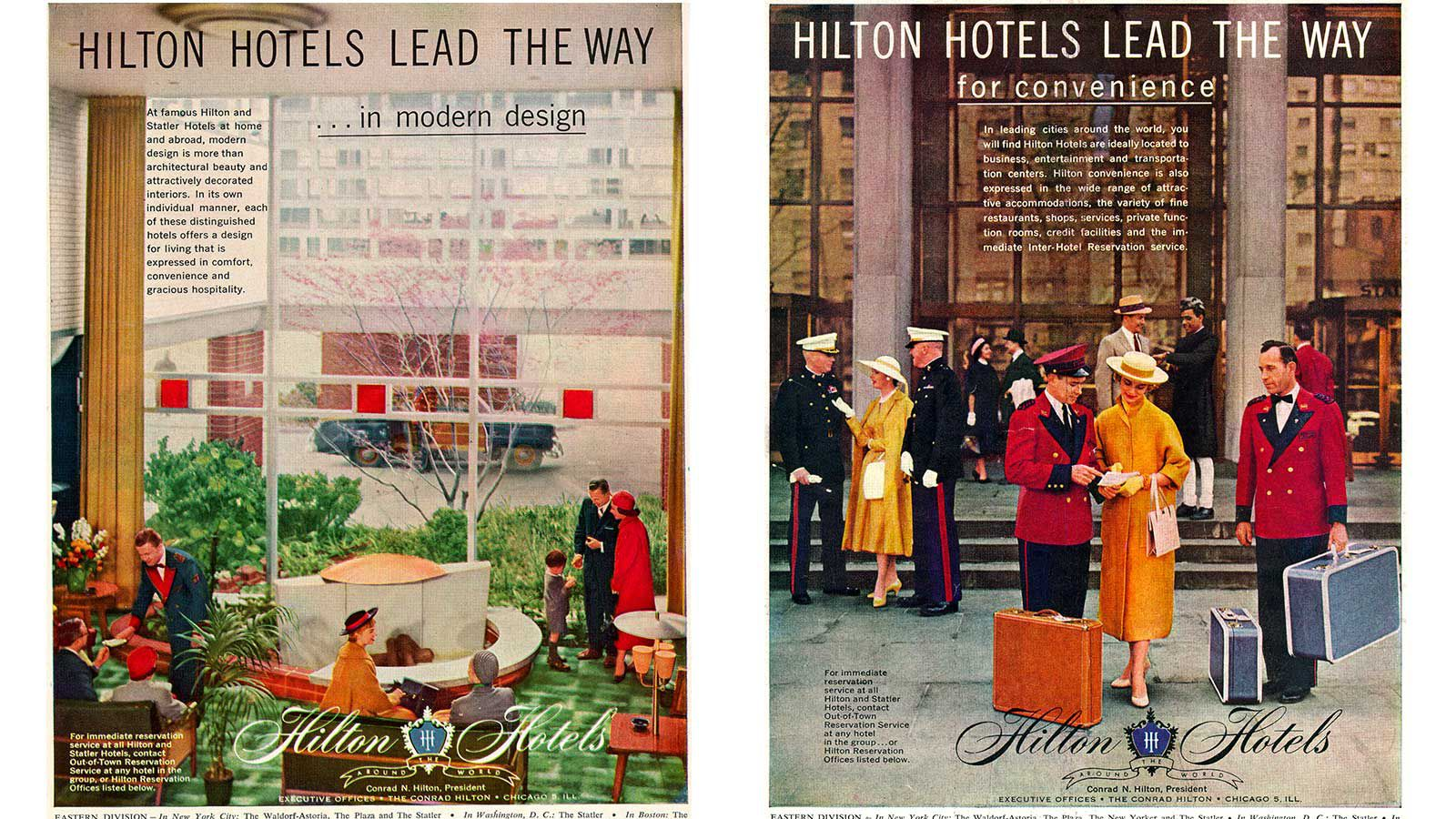 Vintage Hilton Hotels advertisements from the 1950s