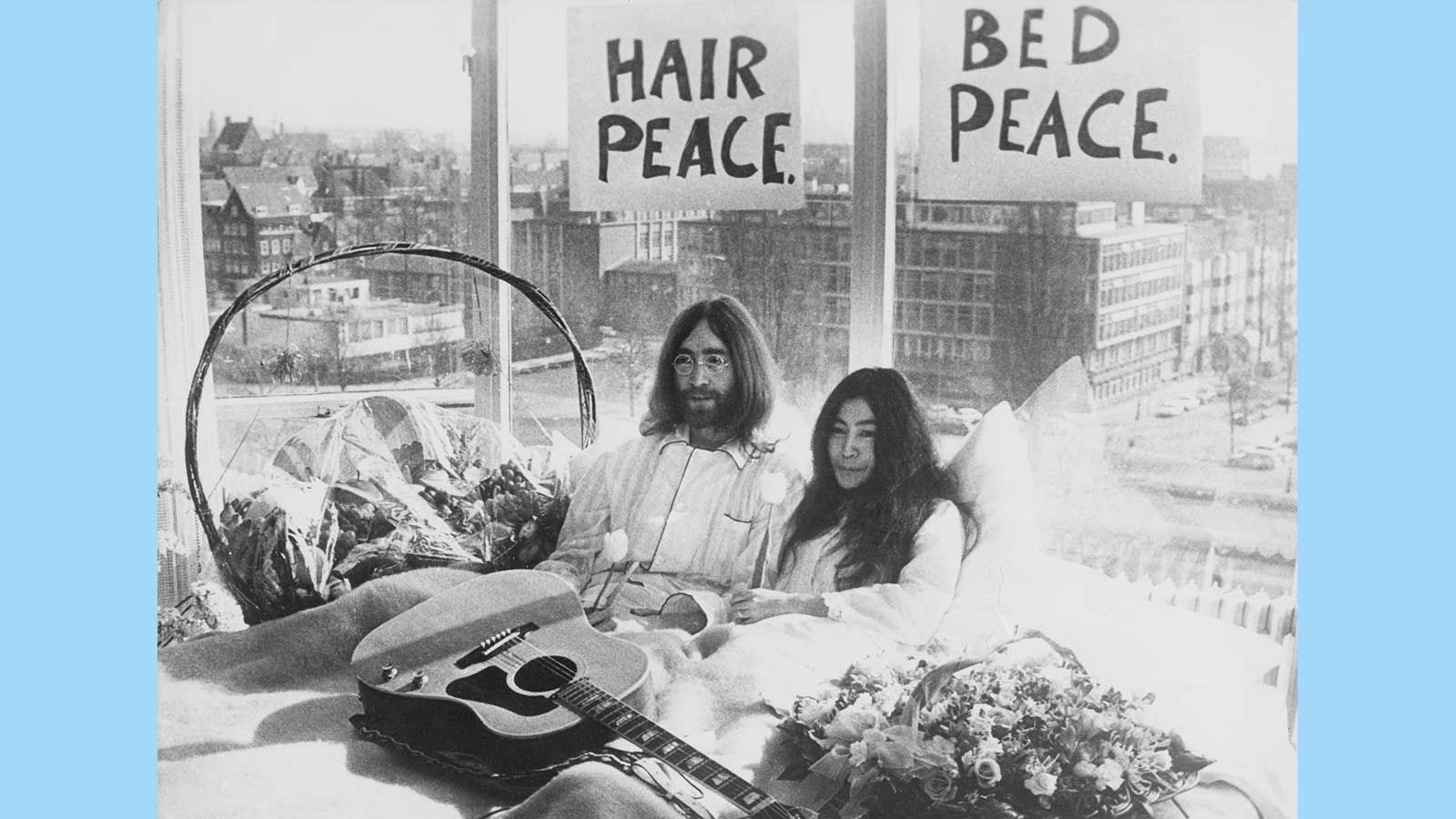 John Lennon and Yoko Ono's bed-in for peace at a Hilton hotel in Amsterdam