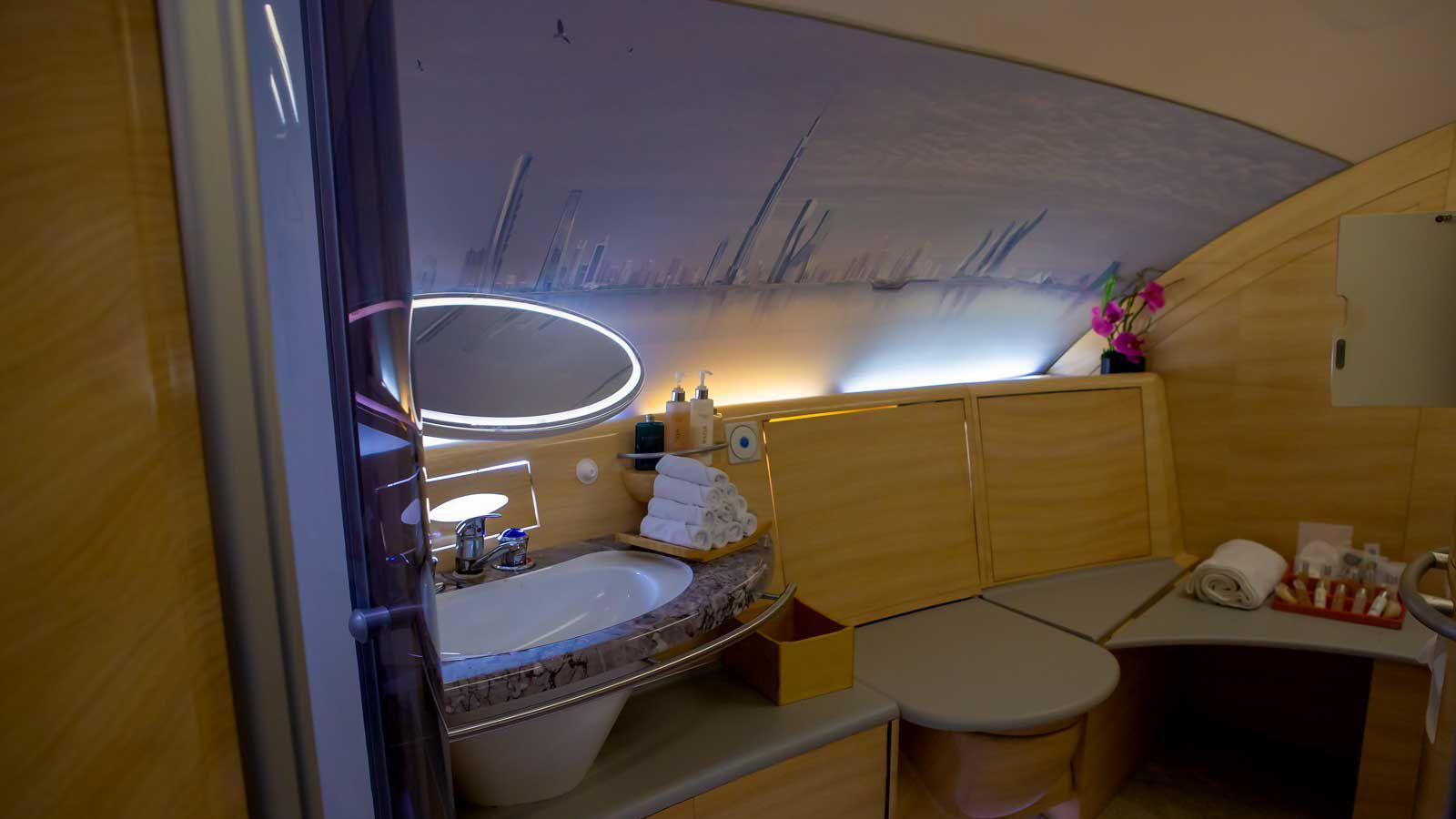 The replica aircraft interiors even include a replica of the airline's famous first class shower spa.