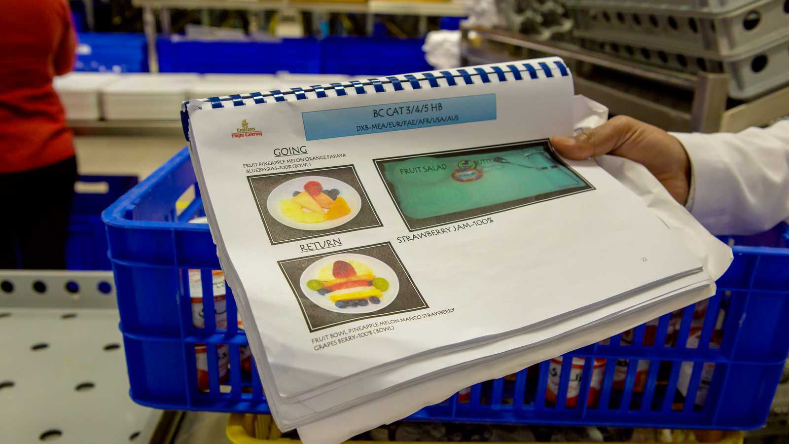 Guidelines show the items and placing of food selections on trays for staff.