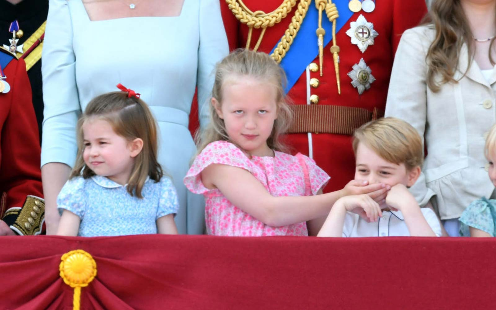 Princess Charlotte of Cambridge, Savannah Phillips and Prince George of Cambridge on the balcony of Buckingham Palace during Trooping The Colour 2018