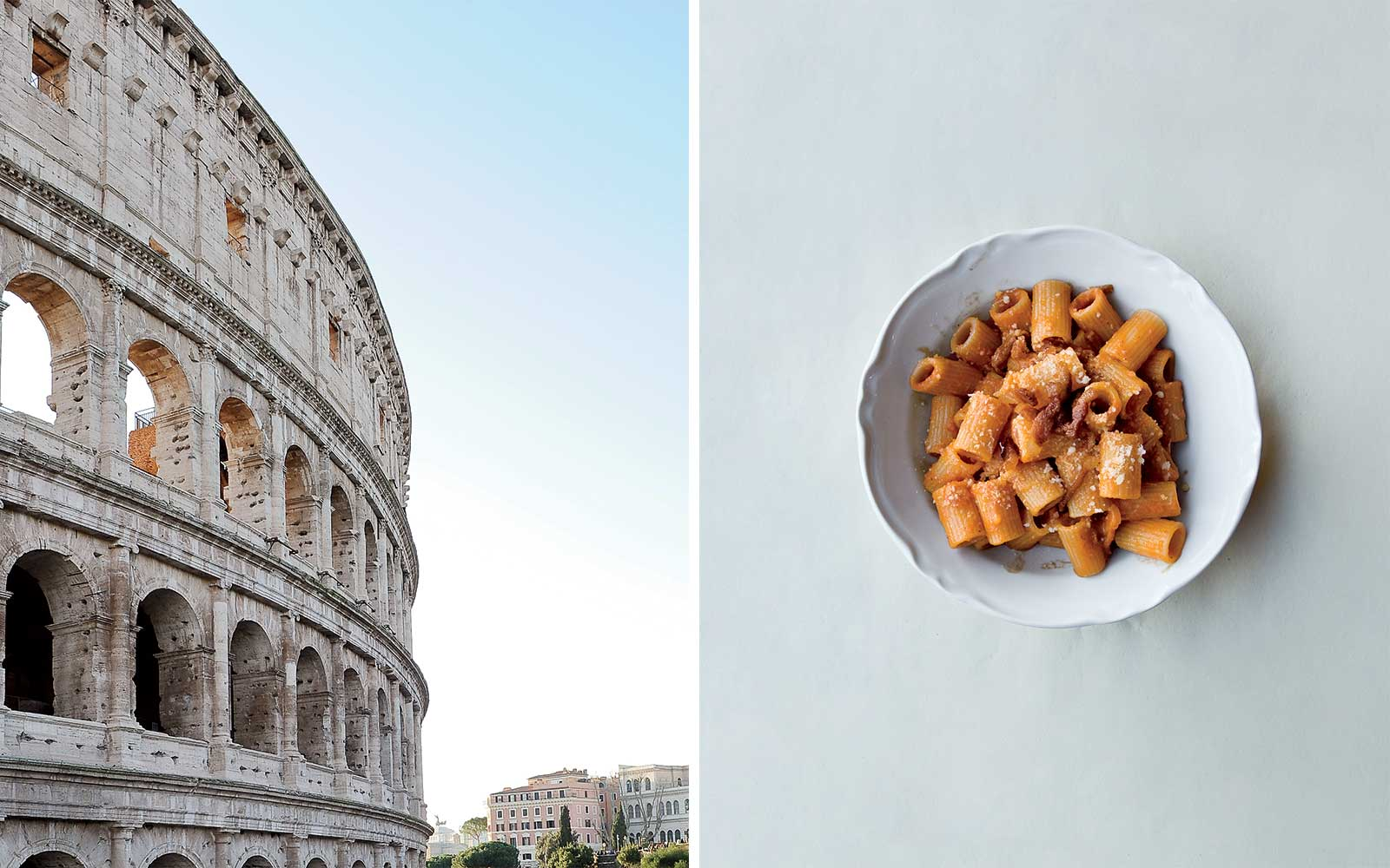 Rome Colosseum and pasta