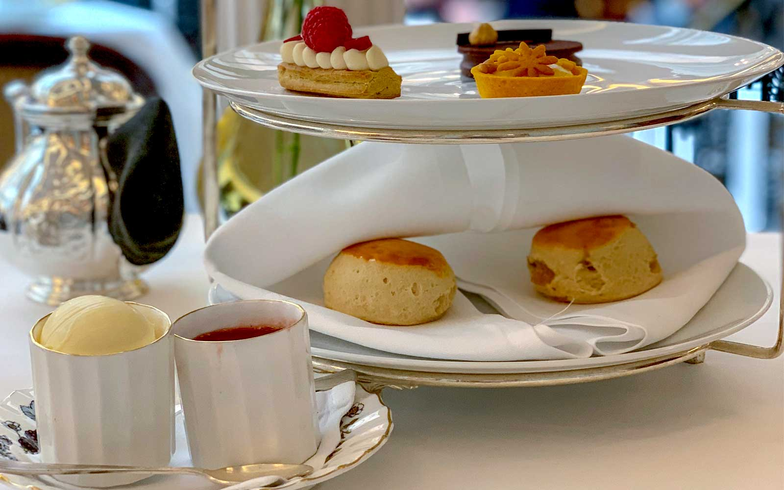 A selection of scones and pastries featured during afternoon tea.