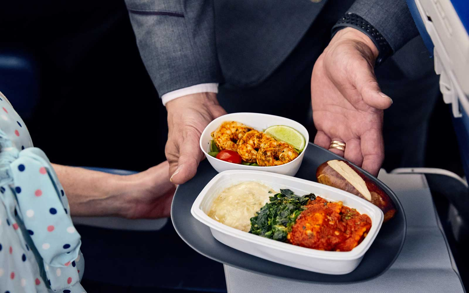 Meals will include a selection of entrees inspired by dishes served on Delta One.