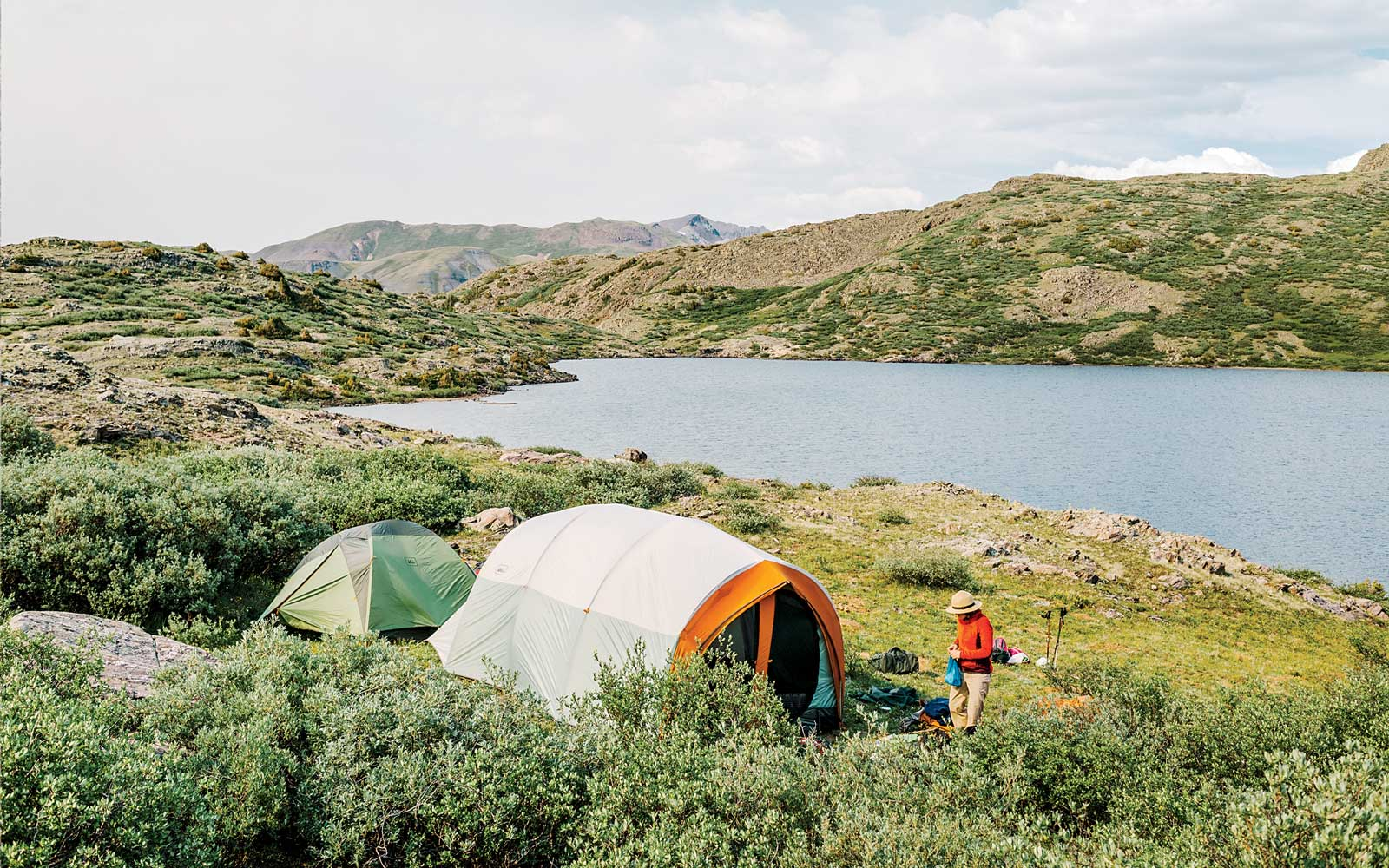 Christa Gieszl sets up camp after a hike to Verde Lakes (part of the Highlands Mary Lakes) outside Silverton