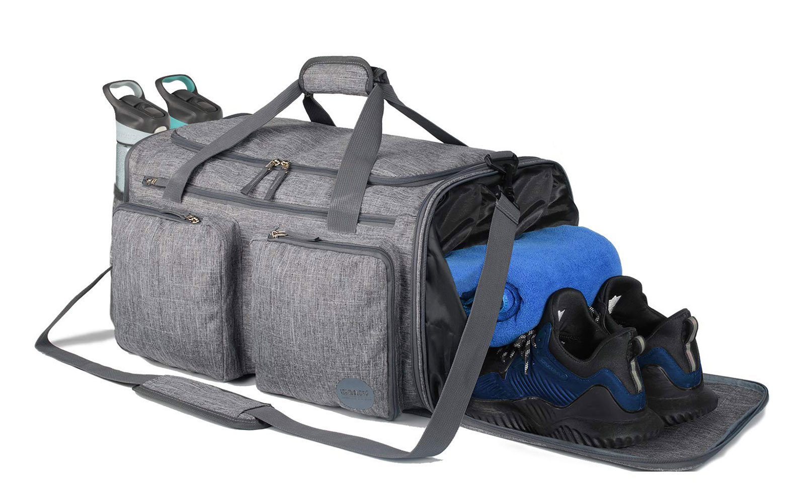 WANDF Foldable Sports Gym Bag with Wet Bag & Shoes Compartment