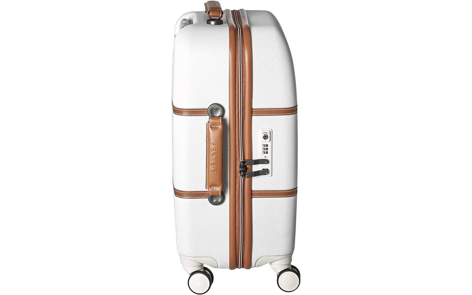 White and Brown Hardside Suitcase