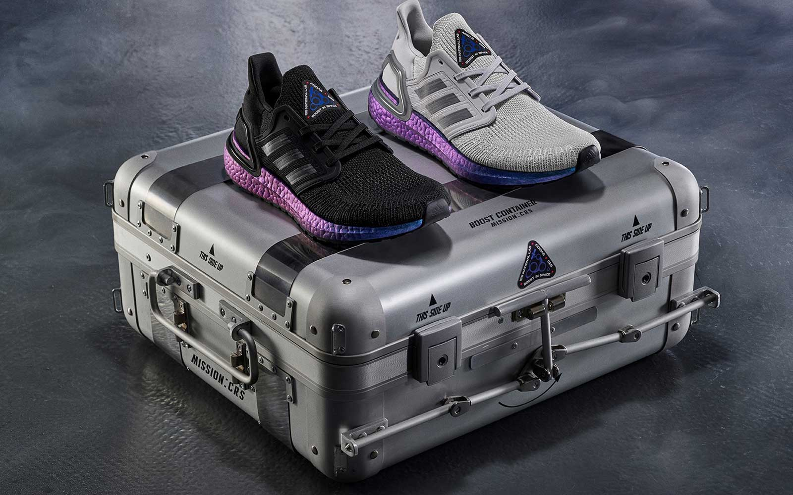 Black, Grey, and Purple Adidas Ultraboost Running Shoes