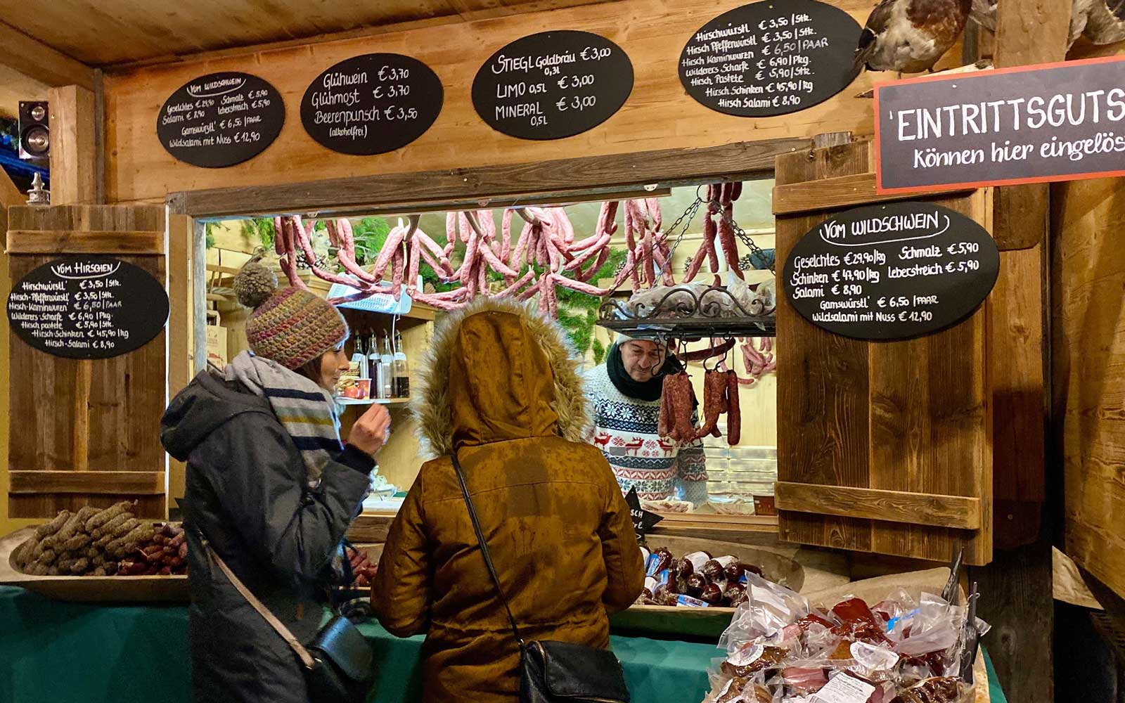 Food stall at the Christmas market in Salzburg, Austria
