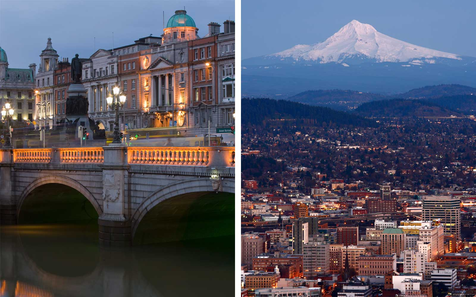 City views of Dublin, Ireland and Portland, Oregon in a side by side picture composite