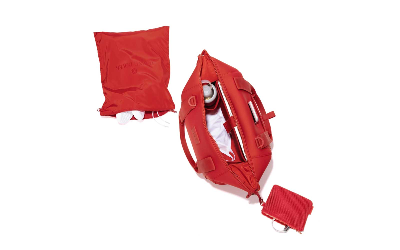 Interior of Red Neoprene Duffel Bag