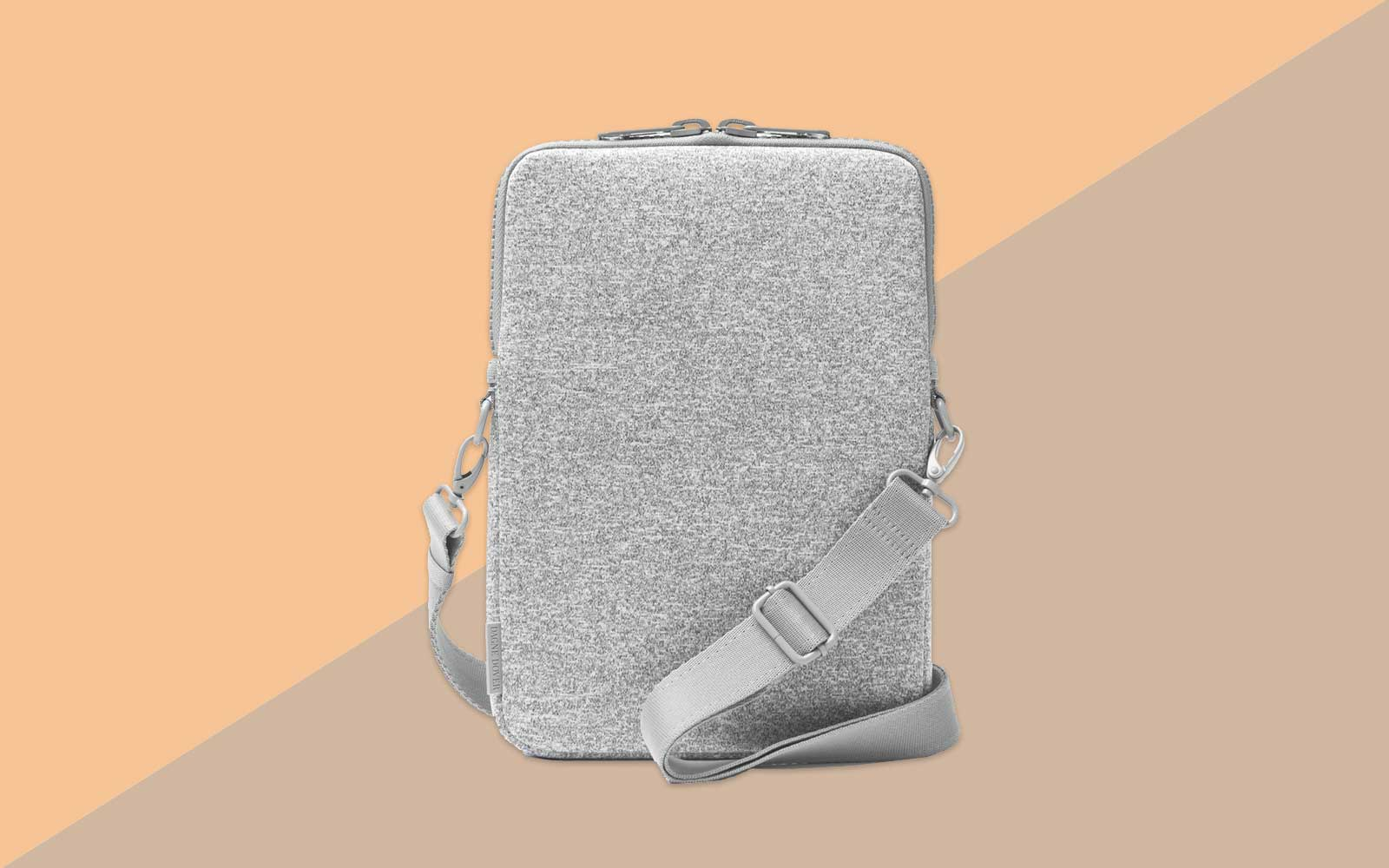 Light Grey Neoprene Laptop Sleeve with Strap