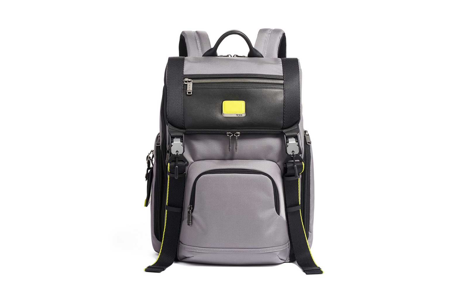 Black and Grey Laptop Backpack with Leather