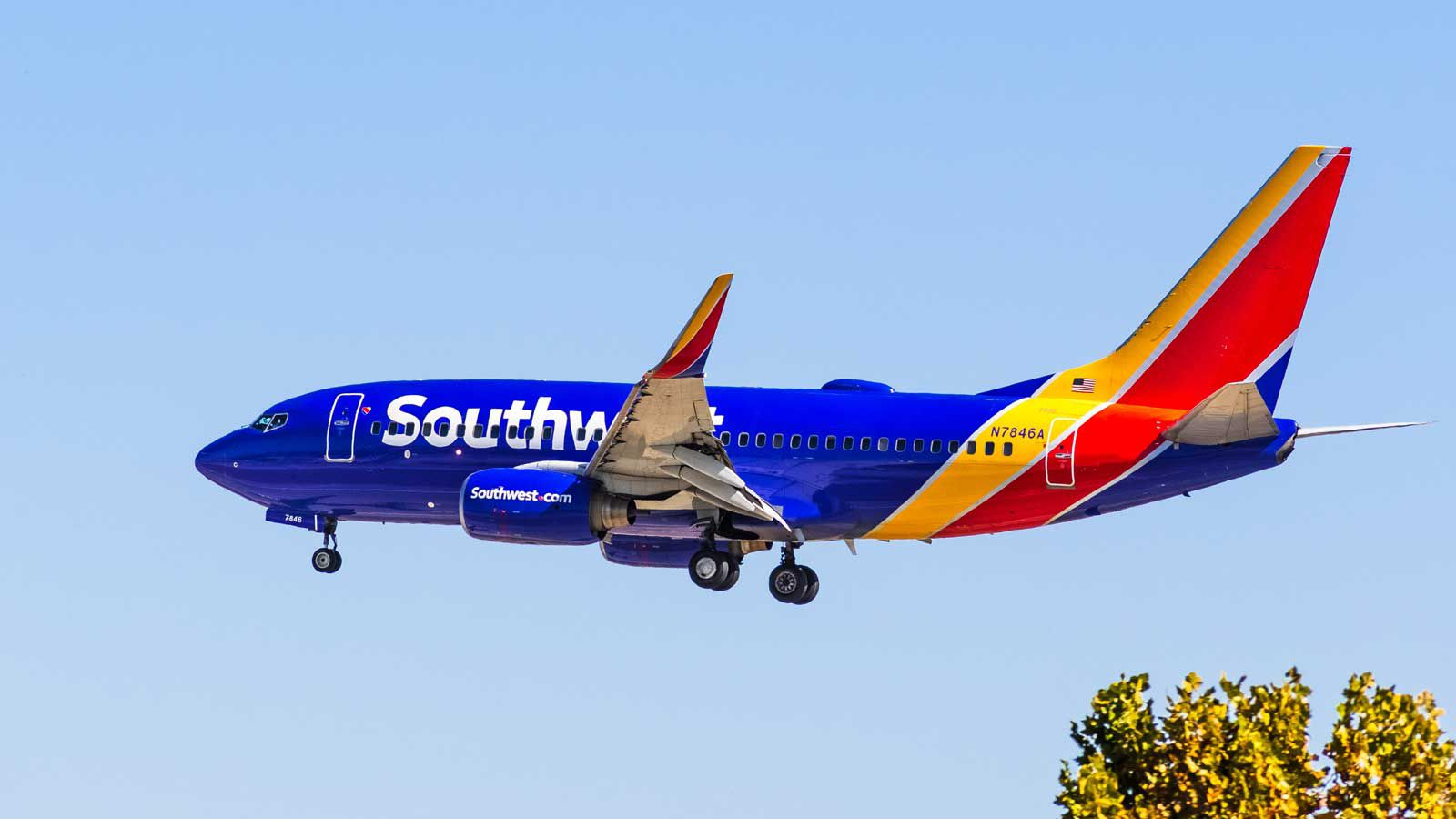 Southwest Airlines plane headed for landing