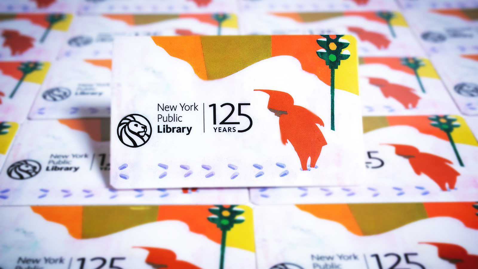 Snowy Day book cover on New York Public Library card for limited 125 Year Anniversary