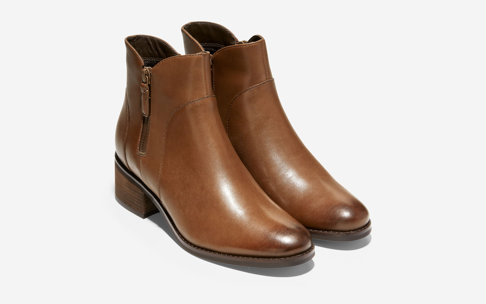 Brown/Tan Leather Ankle Boots