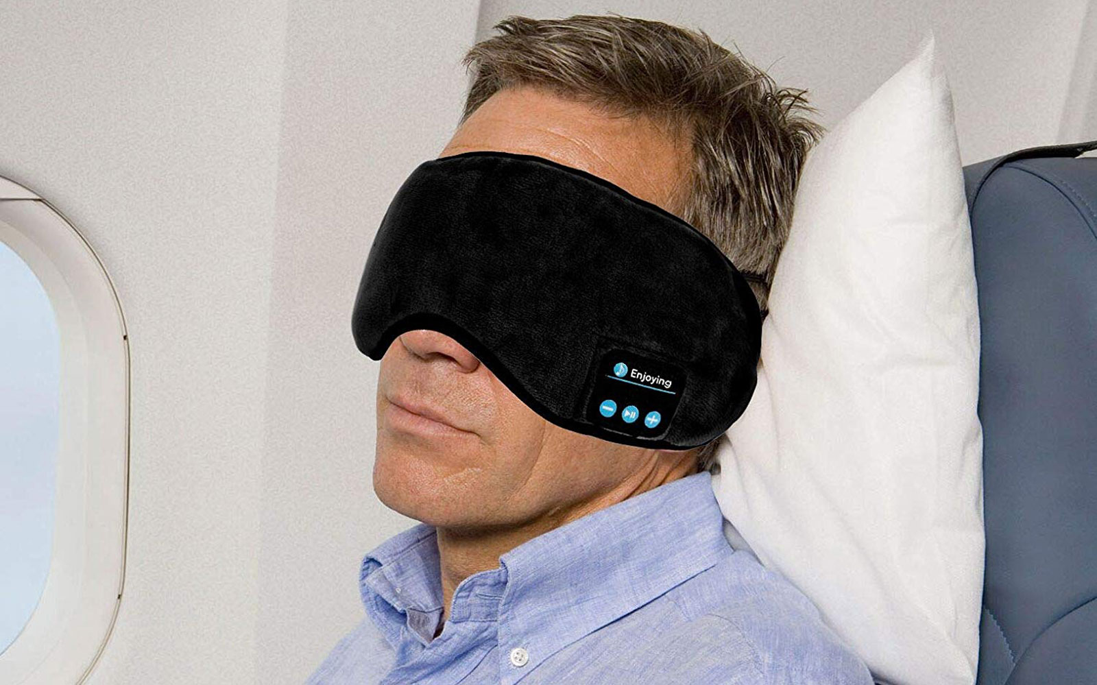 This sleep mask and headphones combination makes sleeping while traveling much easier