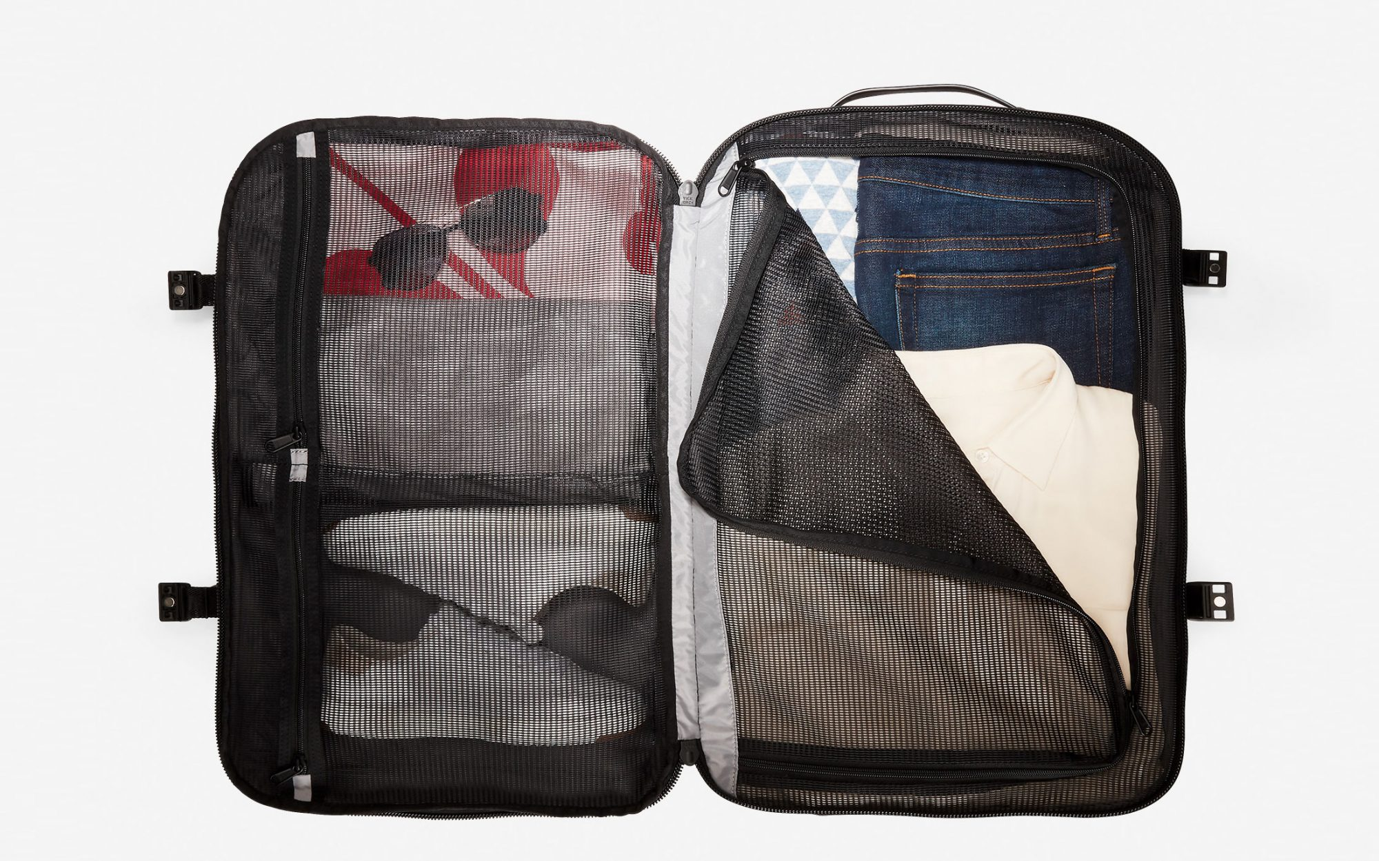 Interior of Black Travel Backpack