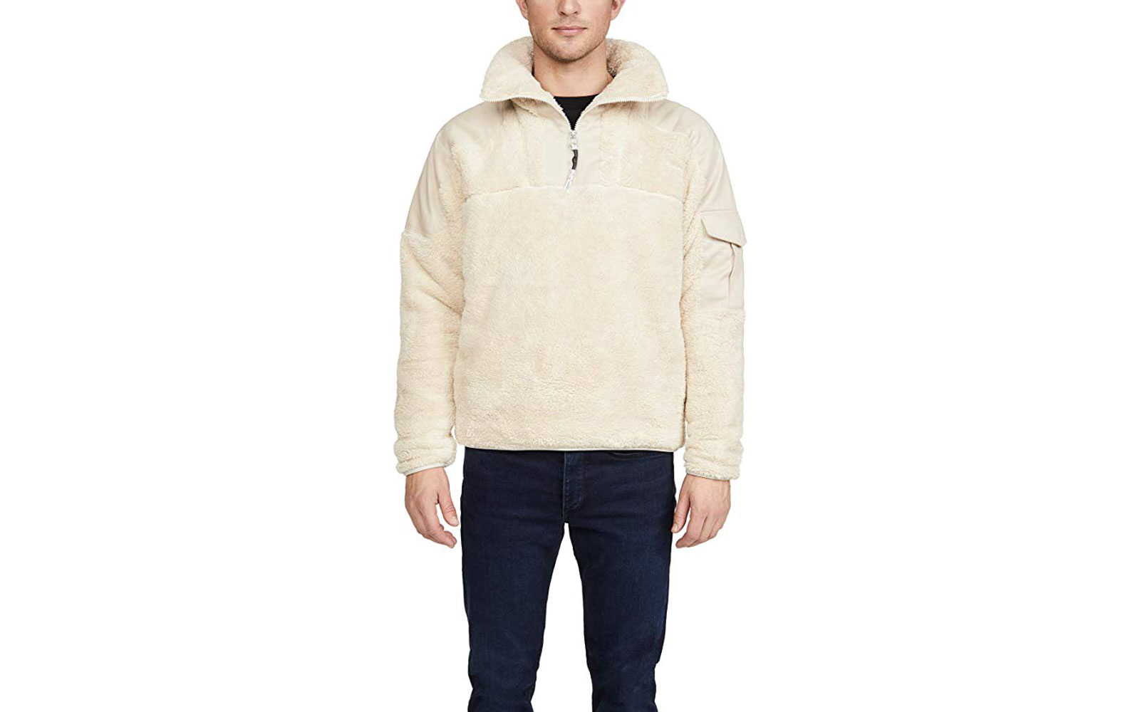 Men's Cream Sherpa Pullover Jacket