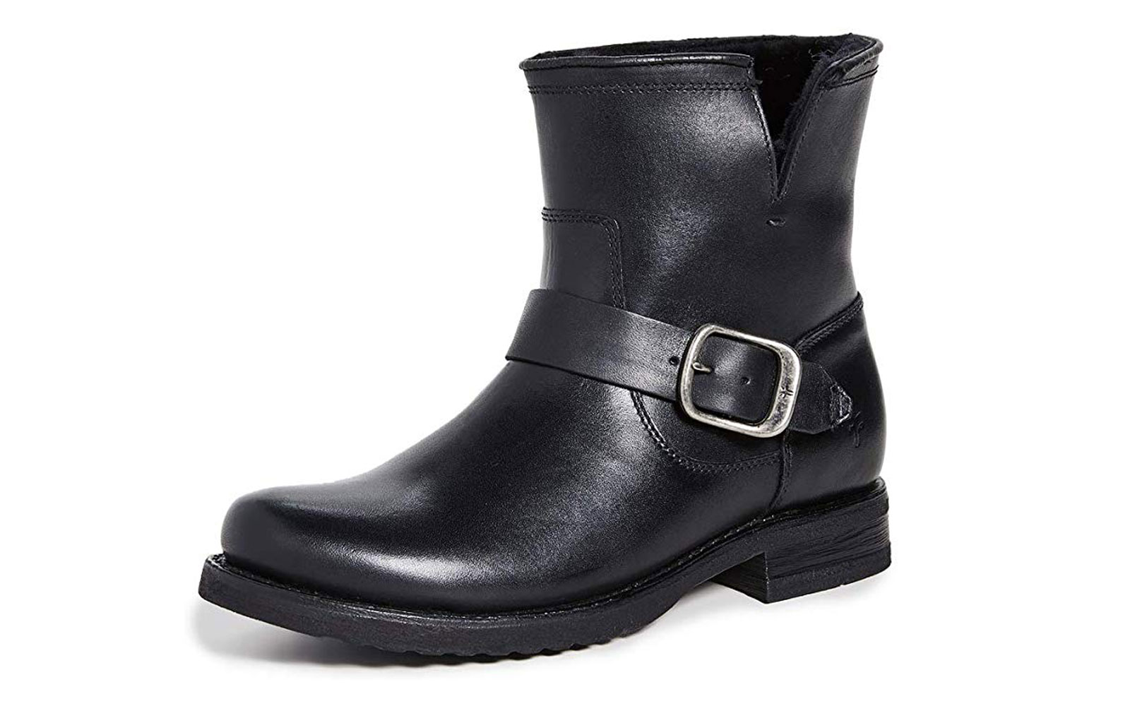 Black Leather Boots with Buckle