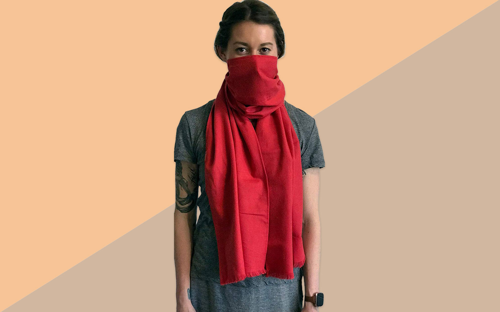 Woman Wearing Red Face-covering Scarf