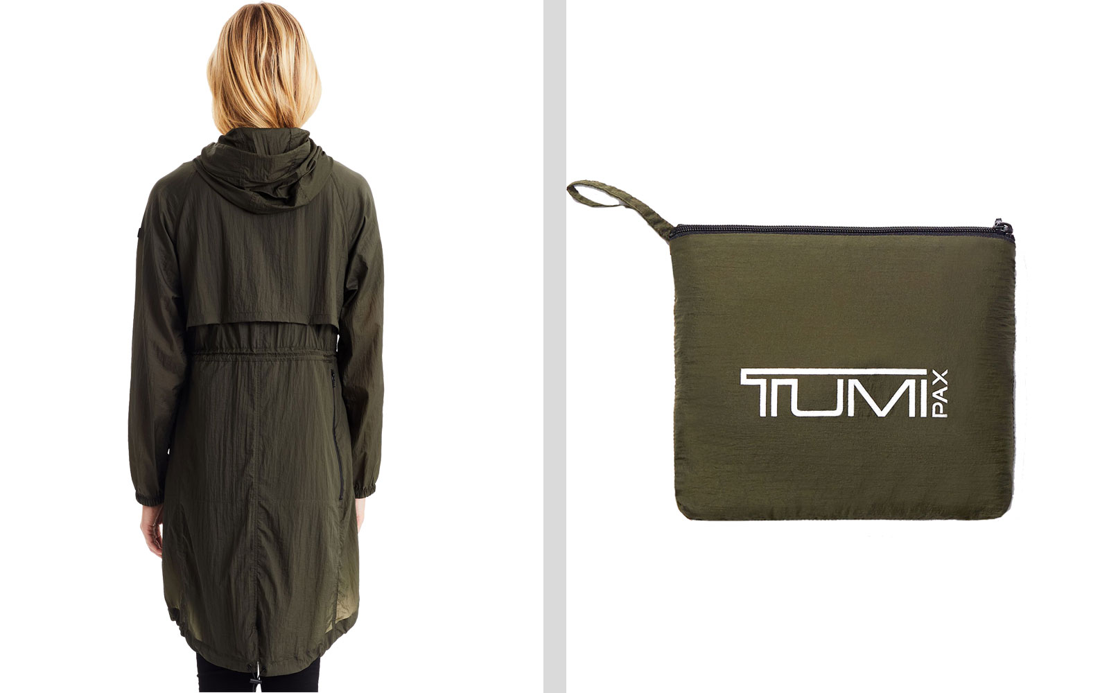Back of Women's Rain Jacket and Packable Bag