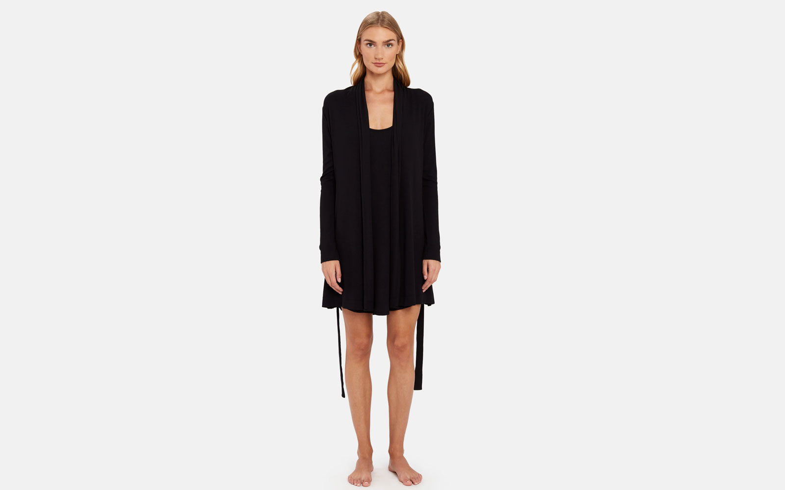 Woman Wearing Black Short Nightgown and Robe
