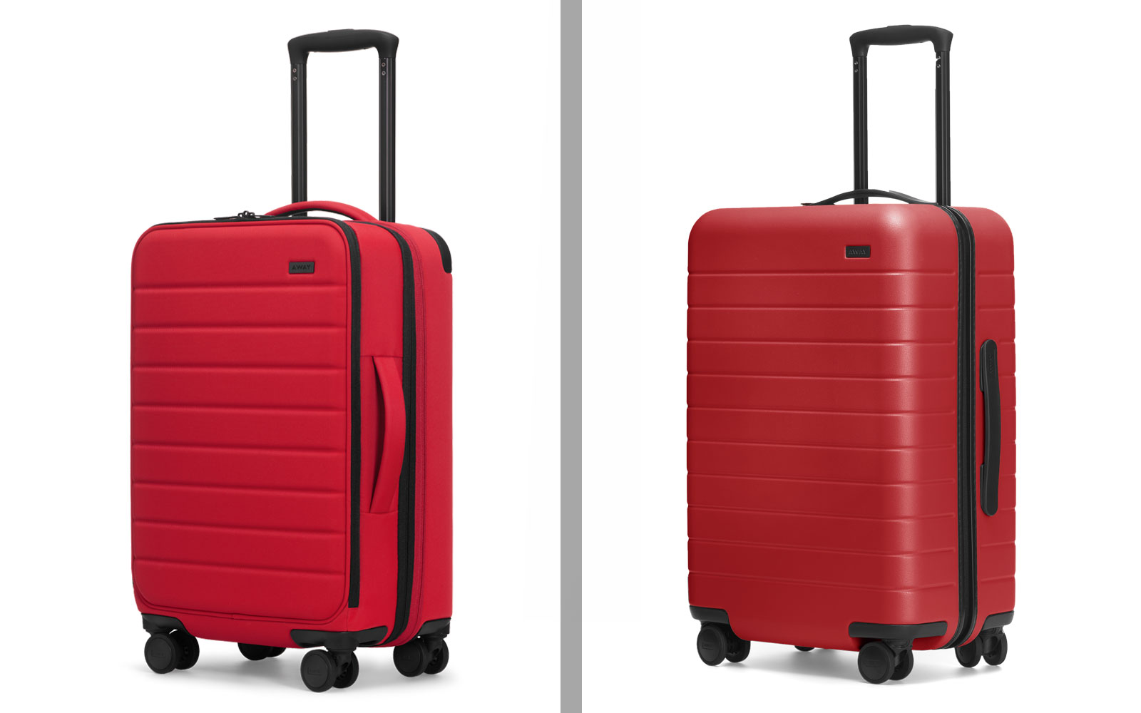 Red Softside and Hardside Suitcases