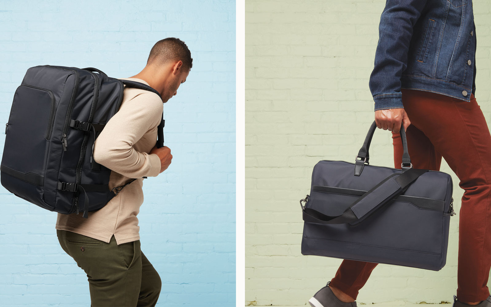Black and Grey Men's Backpack and Duffel