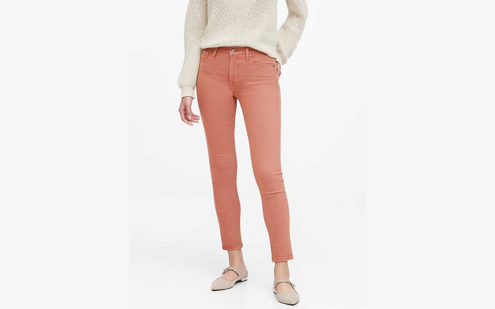 Peach colored mid rise skinny jeans from Banana Republic