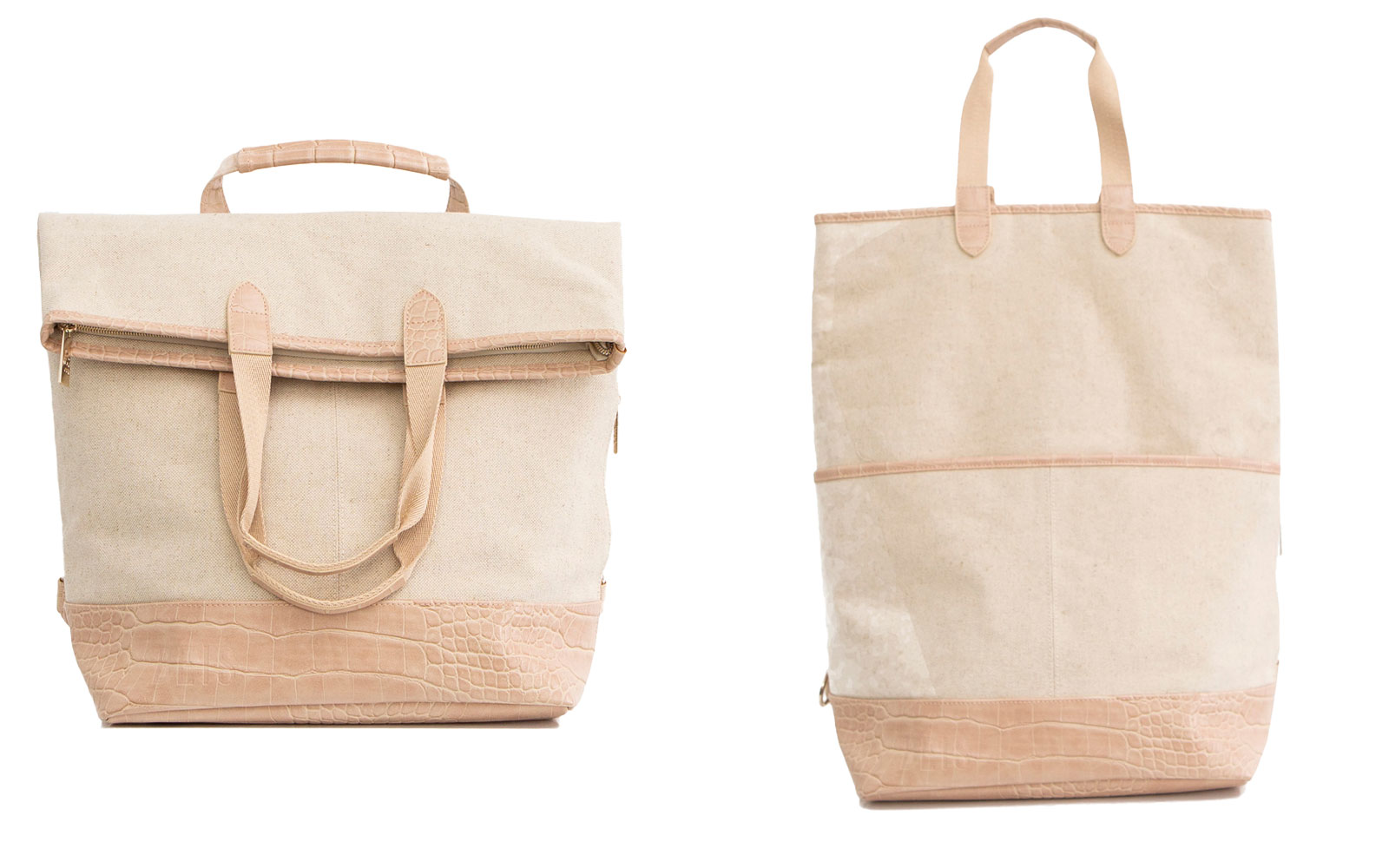 Beige Convertible Travel Tote and Backpack