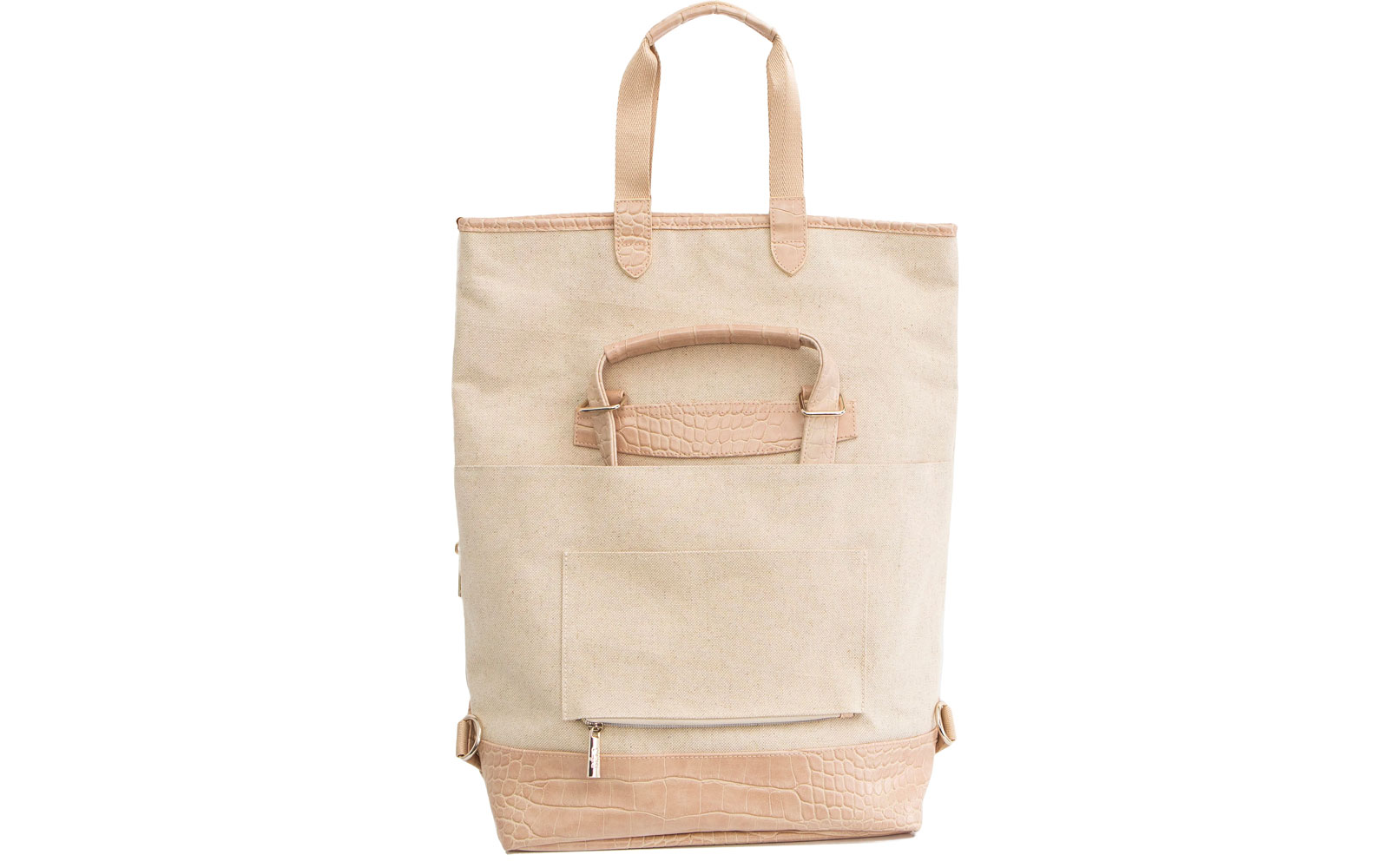 Back of Tan Convertible Tote and Backpack