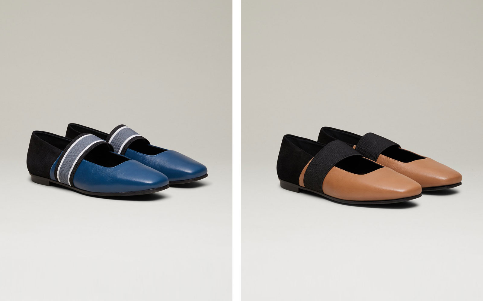 Navy and Grey Ballet Flats and Camel and Black Ballet Flats