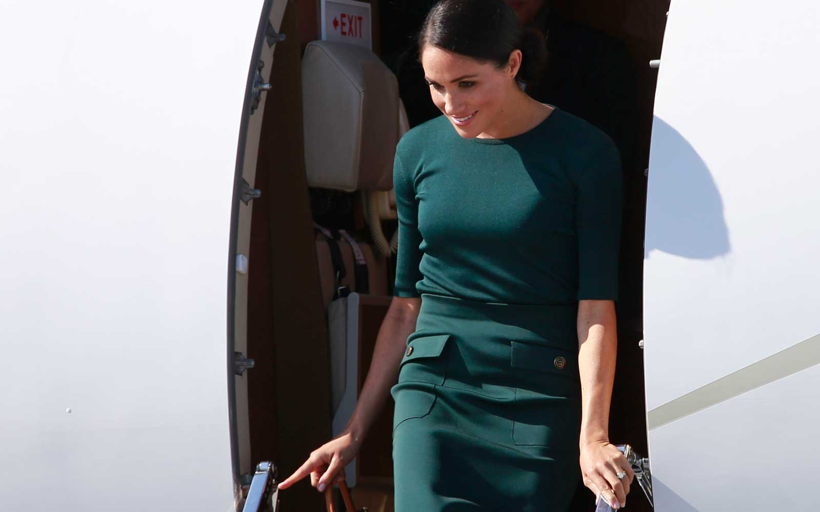 Meghan, Duchess of Sussex arrives at Dublin airport at the start of a two day visit to Ireland on July 10, 2018.