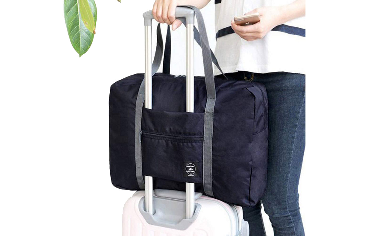 Navy Duffel on back of luggage
