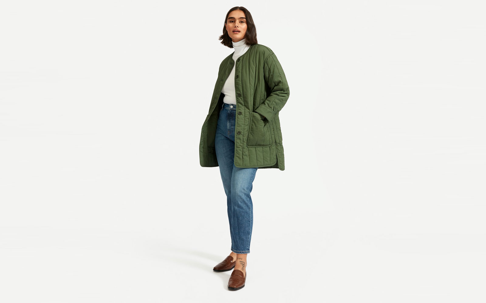 Woman Wearing Army Green Quilted Jacket