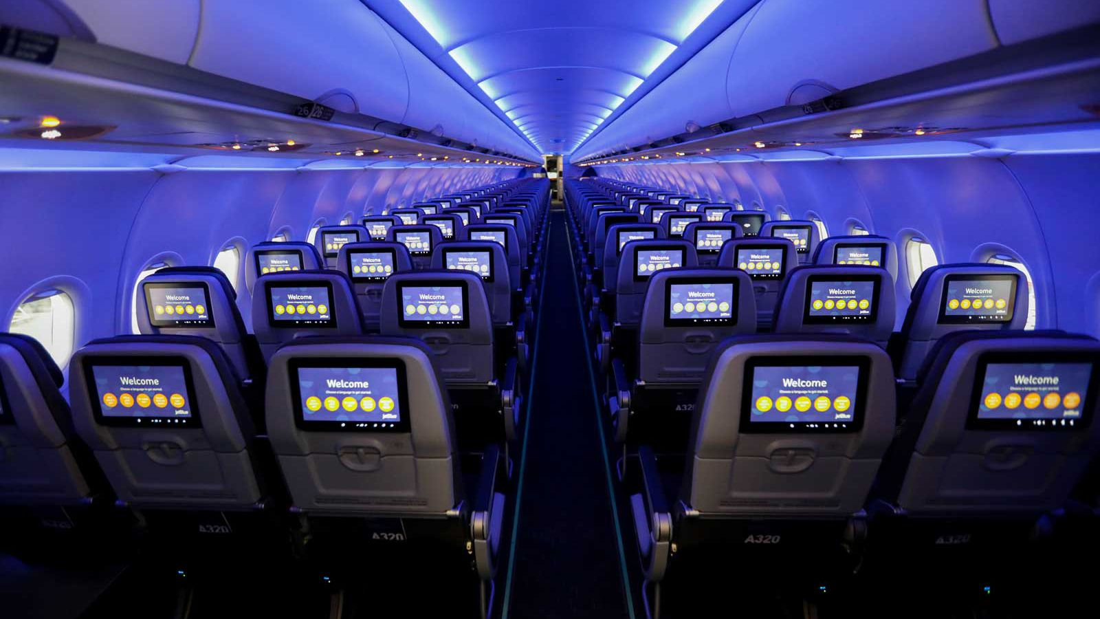 Interior of redesigned JetBlue airplane